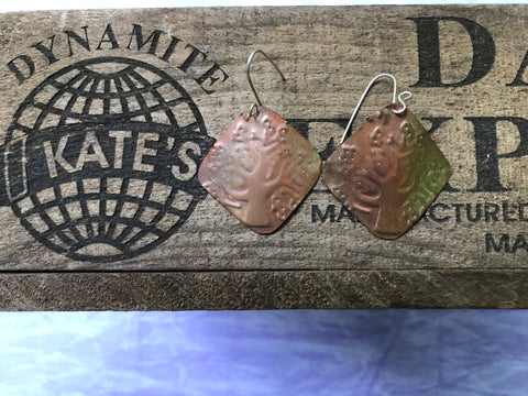 Modern Tree Open Leaves Copper Earrings