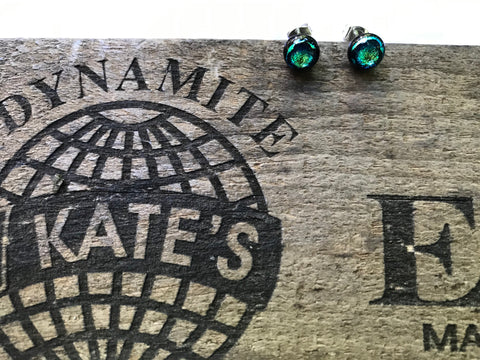 Emerald Dichroic Glass Post Earrings