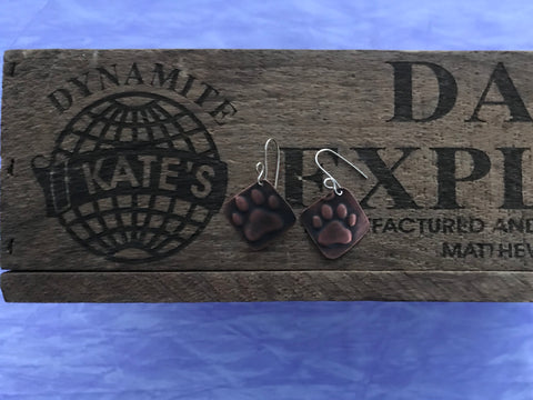 Paw Print Copper  Earrings