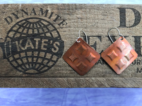 4 Square Copper Earrings