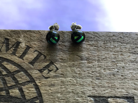 Lime Stripe Dichroic Glass Post Earrings