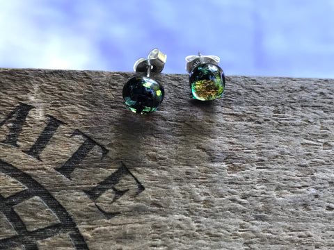Pieces of Gold Dichroic Glass Post Earrings