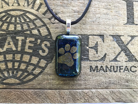 Gold Paw Print on Blue Iridescent Glass Pendant