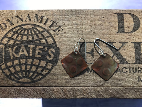 3 Polka Dot Copper Earrings