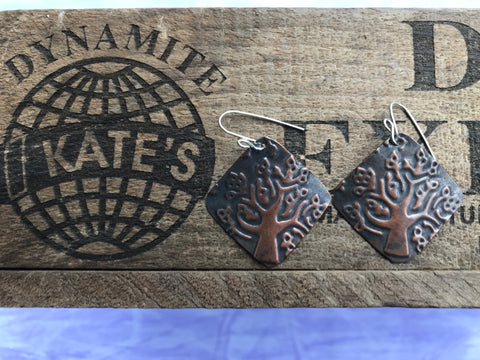 Modern Tree Open Leaves  Antique Look Copper Earrings