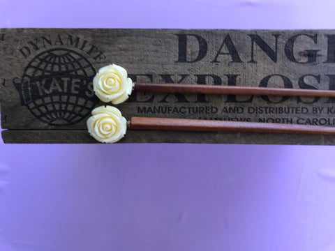 White Rose Jujube Hair Sticks