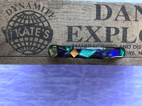 Green Orange Purple Dichroic Glass Barrette