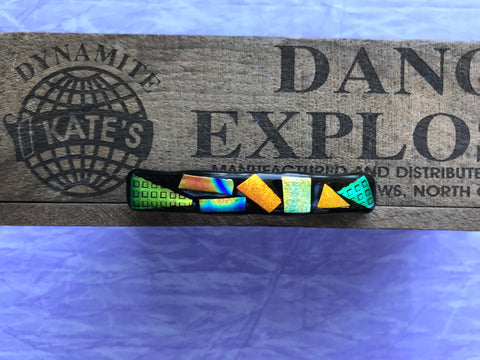 Orange Green Gold Blue Dichroic Glass Barrette