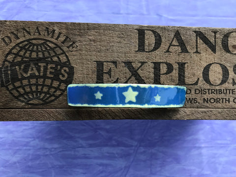 Light Yellow Star Blue Enamel Barrette