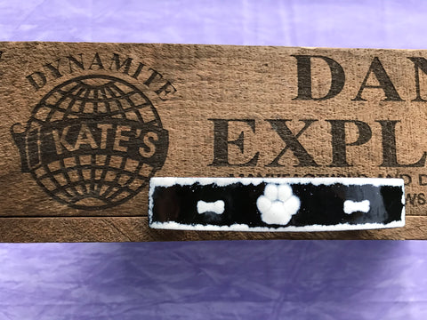 White Paw Print and Dog Bones Black Enamel Barrette