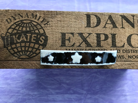 White Stars Black Enamel Barrette