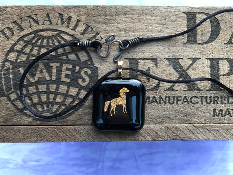 Gold Horse on Black Pendant