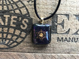 Gold Star of David on Iridescent Glass Pendant