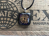 Gold Daisy on Iridescent Glass Pendant