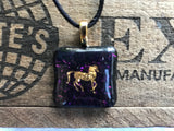 Gold Horse on Iridescent Glass Pendant