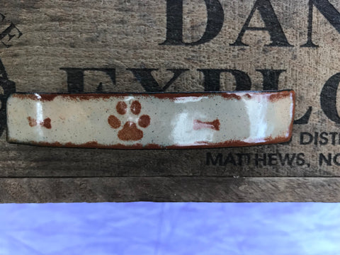 Brown Paw Print and Bones on Tan Enamel Barrette