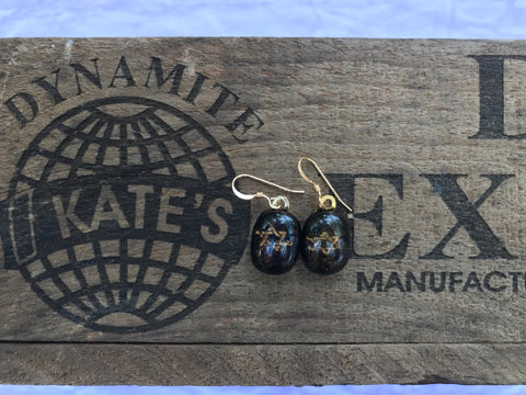Gold Woven Star of David on Blue iridescent Glass Earrings