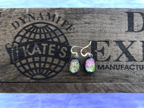 Pink Yellow Green Dichroic Crinkle Black Glass Earrings