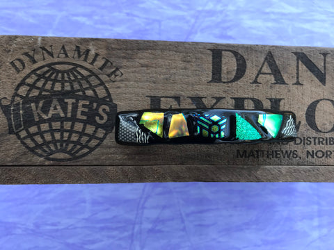 Green and Gold Patterned Dichroic Glass Barrette