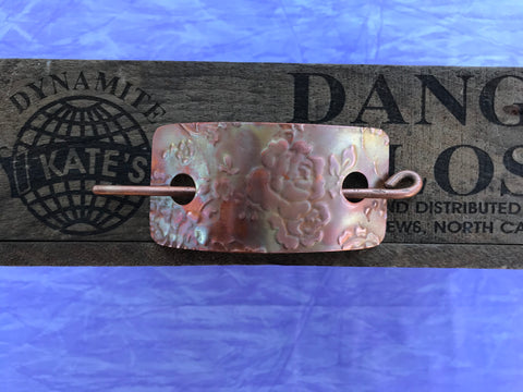 Rose Copper Barrette/ Scarf Pin