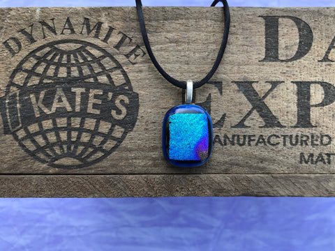 Cobalt Blue Blues and Purples Crinkle Dichroic Glass Pendant