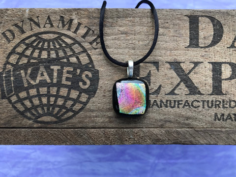 Pink Orange Yellow Green Crinkle Dichroic Glass Pendant