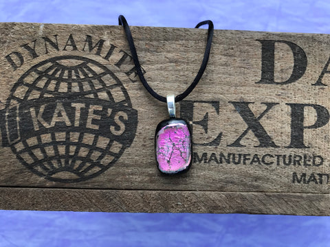 Pink Crinkle Dichroic Glass Pendant