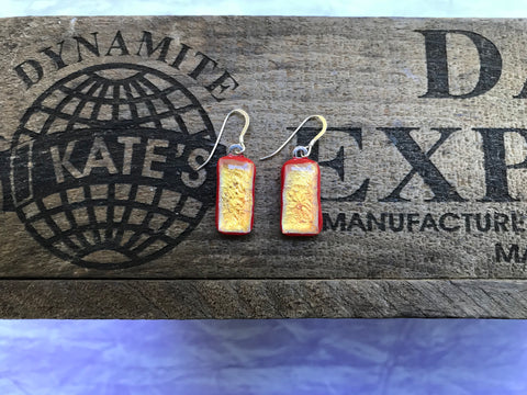 Dichroic on Red Glass Earrings