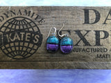 Teal Crinkle and Purple Dichroic Glass Earrings