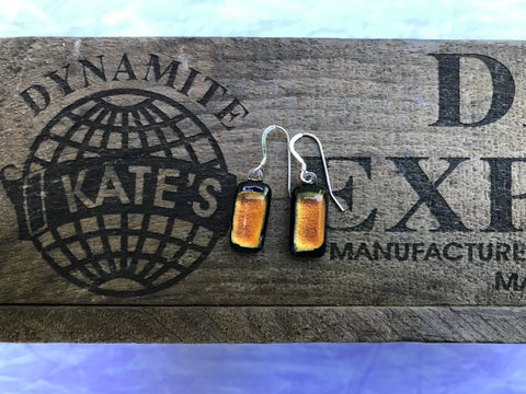 Orange Dichroic Glass Earrings