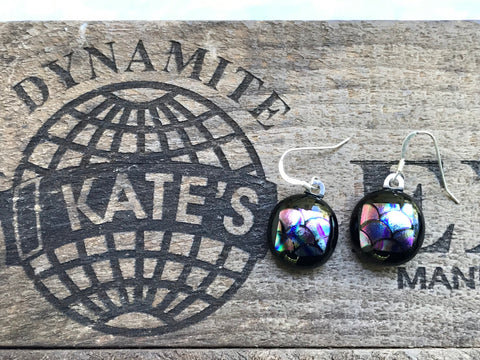 Mermaid Scale Dichroic Glass Earrings