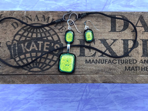 Orangish Green Dichroic Glass Set