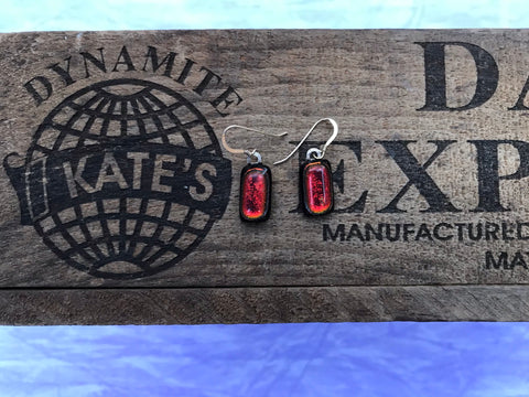 Red Dichroic Glass Earrings