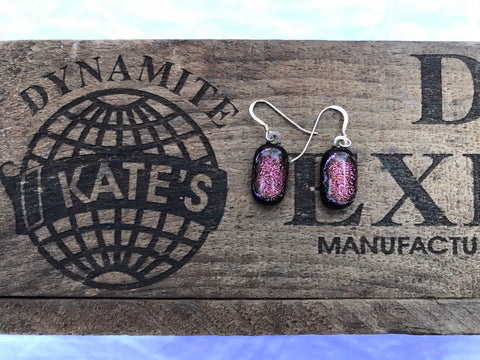 Pink Crinkle Dichroic Glass Earrings