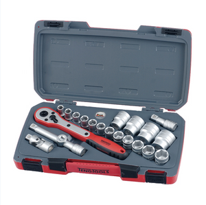 Teng 21pc 1/2in Dr. Metric Reg. Socket Set 6Pnt