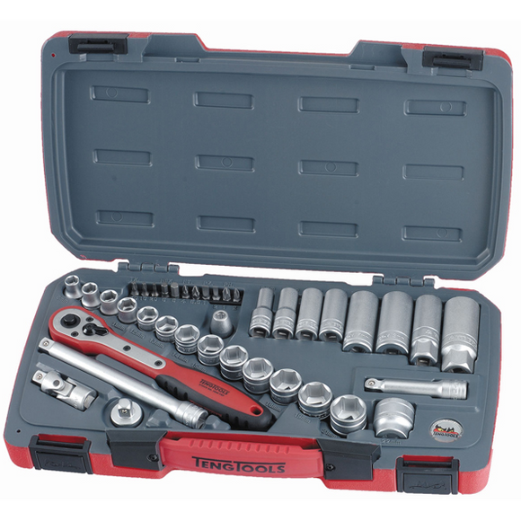 Teng 39pc 3/8in Dr. Metric Reg/Deep Socket Set