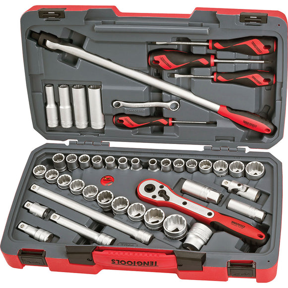 Teng 44pc 1/2in Dr. Metric & AF Socket Set
