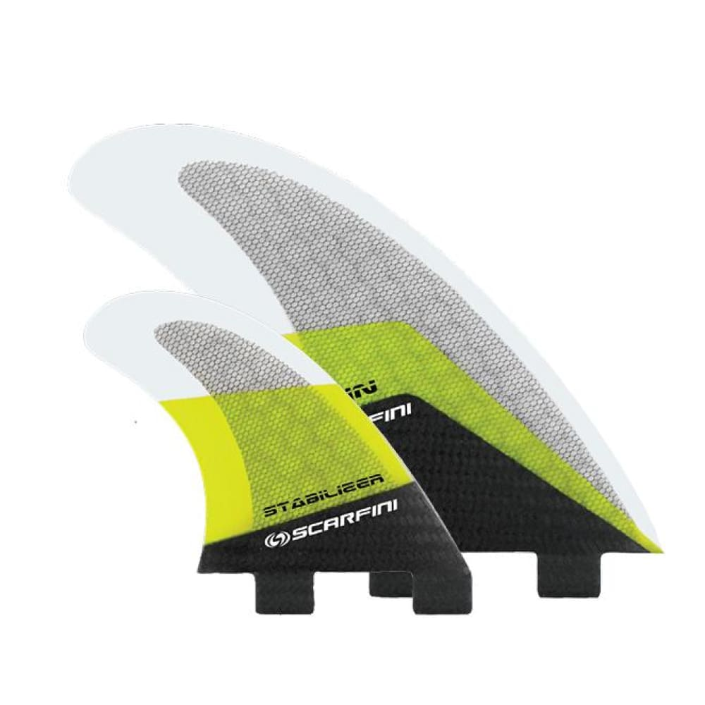Scarfini Carbon Base Twin + Stabiliser Set (Yellow) - Scarfini - Twin Fins