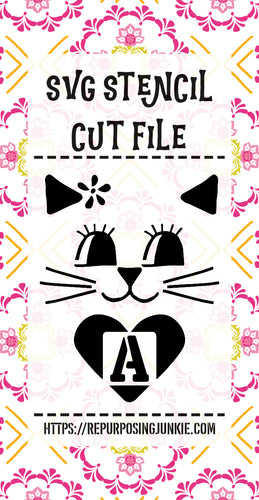 Kitty Kitten Cat Heart Alphabet Stencil SVG JPEG Cut File Bundle Personal Use Only 26 Letters/Initials/Monograms