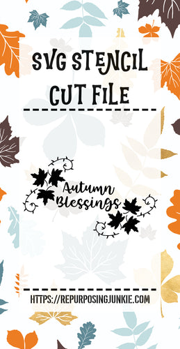 Autumn Blessings Leaf Laurels Stencil SVG JPEG Cut File Personal Use Only