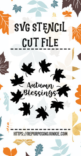 Autumn Blessings Leaf Wreath Stencil SVG JPEG Cut File Personal Use Only
