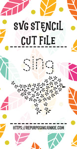 Bird Sing Flower Leaves Stencil SVG JPEG Cut File Personal Use Only