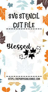 Blessed Leaf Laurel Stencil SVG JPEG Cut File Personal Use Only
