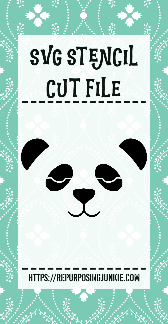 Boy Panda Face 1 Stencil SVG JPEG Cut File Personal Use Only
