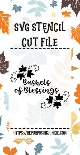 Bushel of Blessings Leaf Laurels Stencil SVG JPEG Cut File Personal Use Only