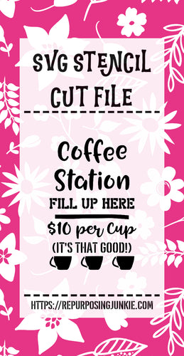 Coffee Station Stencil SVG JPEG Cut File Personal Use Only