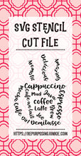 Coffee Cup Words Stencil SVG JPEG Cut File Personal Use Only