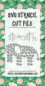 Elephant Strength Flower Leaves Stencil SVG JPEG Cut File Personal Use Only