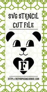 Boy Bear Heart Alphabet Stencil SVG JPEG Cut File Bundle Personal Use Only 26 Letters/Initials/Monograms