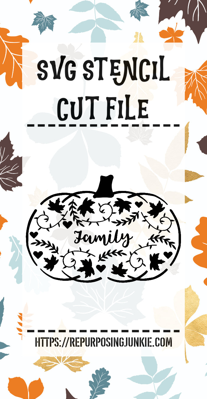 Family Embellished Pumpkin Stencil SVG JPEG Cut File Personal Use Only